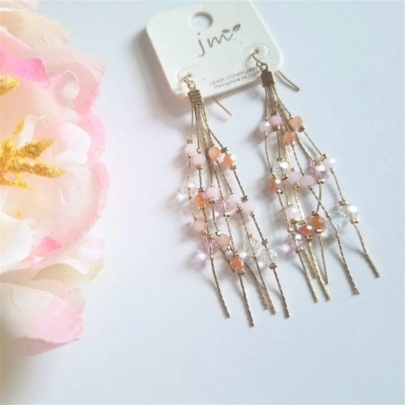 jm Jewelry - Gold And Pink Dangle Earrings